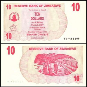 ZIMBABWE, 10 DOLLARS 1.08.2006 płatny do 31.07.2007, Pick 39