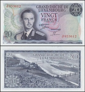 LUKSEMBURG, 20 FRANCS 1966 Pick 54a(2)