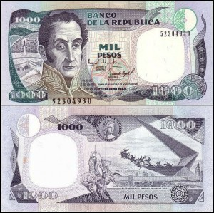 KOLUMBIA, 1000 PESOS 2.8.1995 Pick 438