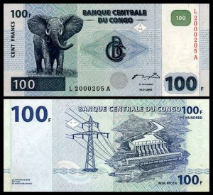KONGO - REPUBLIKA, 100 FRANCS 2000, G&D, Pick 92a