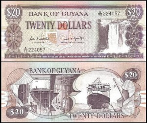 GUJANA, 20 DOLLARS (1989) sygn. 7, Pick 27