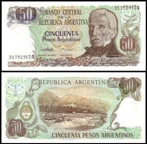 ARGENTYNA	50 PESOS ARGENTINO (1983-84) Pick 314a(2)