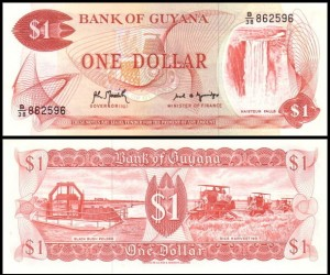 GUJANA, 1 DOLLAR (1992), sygn. 8, Pick 21g