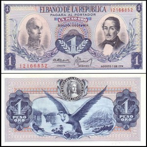 KOLUMBIA, 1 PESO 1974 Pick 404e