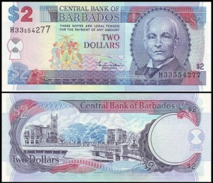 BARBADOS, 2 DOLLARS (2000), Pick 60