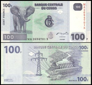 KONGO - REPUBLIKA, 100 FRANCS 2007, G&D, Pick 98A