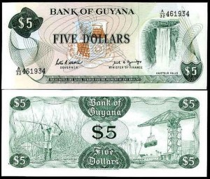 GUJANA, 5 DOLLARS (1966-1992), sygn. 7, Pick 22e