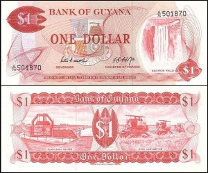GUJANA	1 DOLLAR	(1966-1992) Pick 21d