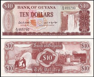 GUJANA, 10 DOLLARS (1989) sygn. 7, Pick 23d
