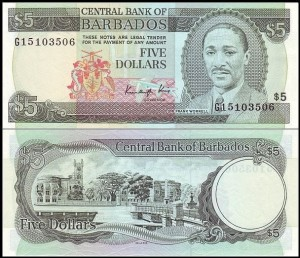 BARBADOS, 5 DOLLARS (1986), Pick 37