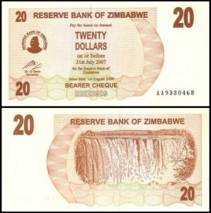 ZIMBABWE, 20 DOLLARS 1.08.2006 płatny do 31.07.2007, Pick 40