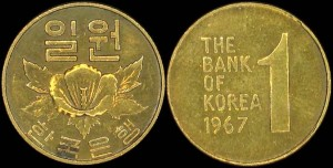 Korea Płd, 1 Won 1967, KM 4, Stan I-