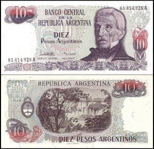 ARGENTYNA	10 PESOS ARGENTINO (1983-84) Pick 313a(2)