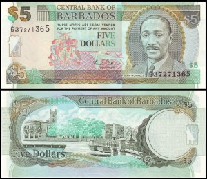 BARBADOS, 5 DOLLARS (2000), Pick 61
